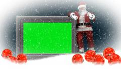 christmas, snowfall, animated santa claus - additional to green screen - stock footage