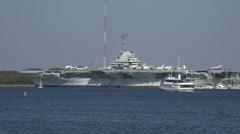 Ussyorktownaircraft carrier, charleston harbor, sc, usa Stock Footage