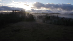 Drone tracking shot Sunrise and morning fog Stock Footage
