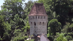 Medieval tower and defensive fortifications at fortress wall in an old town Stock Footage