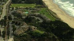 Aerial Coastline Waterfront Santa Cruz residential USA - stock footage