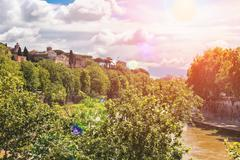 Picturesque embankment of the tiber river in rome, italy Stock Photos