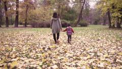 Mother with son holding hands in the park, steadycam shot, slow motion  240fps Stock Footage