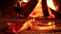 Raw Beef Steaks In Front Of Fireplace Stock Footage