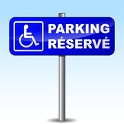 french disabled parking sign - stock illustration
