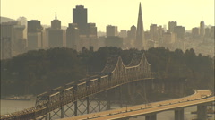 Aerial Oakland Bay Bridge construction San Francisco - stock footage