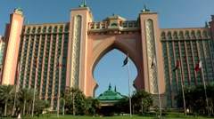 The United Arab Emirates city of Dubai 009 big arch of Atlantis The Palm hotel Stock Footage
