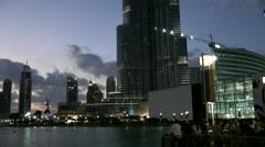 The United Arab Emirates city of Dubai 020 evening in downtown at Burj Khalifa Stock Footage