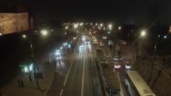 Traffic at night Warsaw Poland Stock Footage