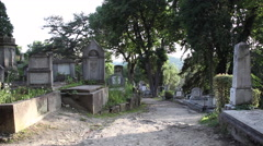 Alley in the cemetery, very old tombstones, graveyard, panning - stock footage