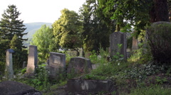 Beautiful sunset, summer, very old Protestant graveyard, historic place - stock footage
