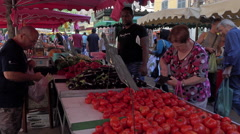 Toulon France farmers market woman fruit vegetable 4K 046 Stock Footage