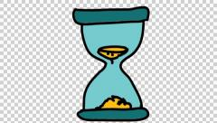 glass hour sand clock cartoon illustration hand drawn animation transparent - stock footage