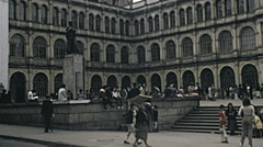 Bogotà 1979: people walking in Bolivar square Stock Footage