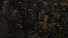 Aerial night illuminated Downtown San Francisco city Skyscrapers Stock Footage