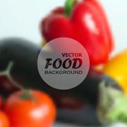 realistic food background of different vegetables (pepper, tomato, eggplant) - stock illustration