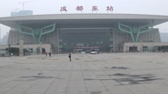 The grand building and square of east railway station in Chengdu, Sichuan, China Stock Footage