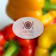 Realistic food background of red and yellow peppers. vector restaurant menu Piirros