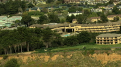 Stock Video Footage of Aerial Coastline Resort Waterfront Santa Cruz USA