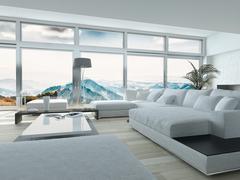 elegant living room with white furniture - stock illustration
