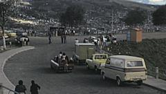 Quito 1979: street market on the top of the hill Stock Footage