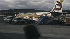 Quito 1979: airplane at Old Mariscal Sucre International Airport Stock Footage