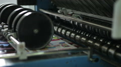 Newspaper production line. Print press webset machine finished product Stock Footage