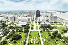 Aerial of baton rouge with  huey long statue and  skyline Stock Photos