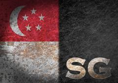 old rusty metal sign with a flag and country abbreviation Singapoure - stock photo