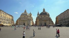 Tourists at Piazza del Popolo, Rome, Italy Stock Footage