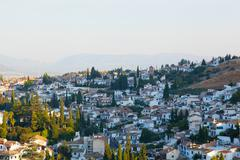 granada, view of the arab quarter early in the morning - stock photo