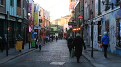Dublin alleyway with shops - stock footage