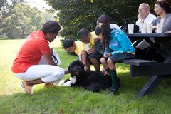 First Lady Michelle Obama and kids from Tubman Elementary School in Washingto Free Stock Photos