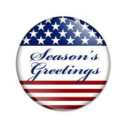 season's greetings usa button - stock illustration