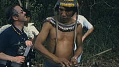Peru 1979: native man working in the Amazon forest - stock footage