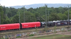 ULTRA HD 4K Aerial view goods train cargo transportation railway carriage wagon  Stock Footage