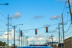 traffic regulation in america with traffic lights - stock photo
