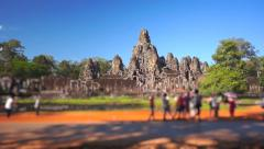 Bayon Temple with touristic traffic Stock Footage