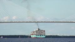 Container ship passes under arthur ravenel jr bridge, charleston, sc, usa Arkistovideo