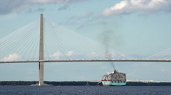 Container ship passes under arthur ravenel jr bridge, charleston, sc, usa Stock Footage