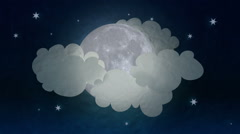 Moon revealing behind clouds with paper texture Stock Footage