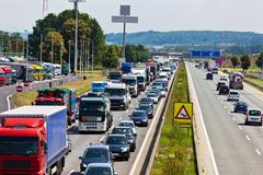 Traffic jam on highway Stock Photos