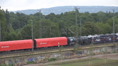 Aerial view goods train cargo transportation railway carriage wagon car day rail - stock footage