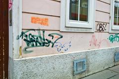 contaminated house wall - stock photo