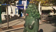 Dolly shot of bronze sculpture, Costa del Sol Stock Footage