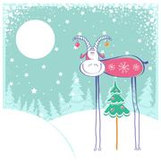 Stock Illustration of christmas card with goat in winter landscape