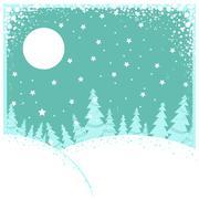 christmas winter landscape.vector illustration - stock illustration