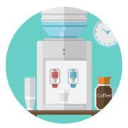 Flat vector icon for office. Water cooler Stock Illustration