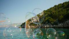 Stock Video Footage of HD Slow-Mo: Big Floating Soap Bubbles