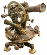 old  theodolite cutout - stock photo